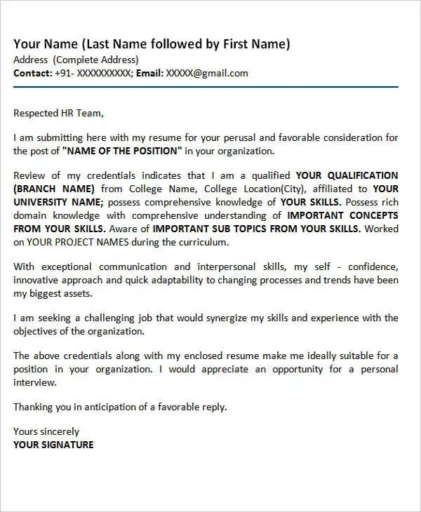 cover letter for resume hr fresher