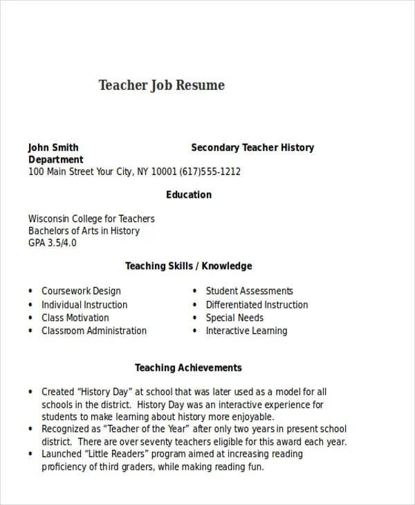 25+ Teacher Resume Templates in Word   Free & Premium Templates