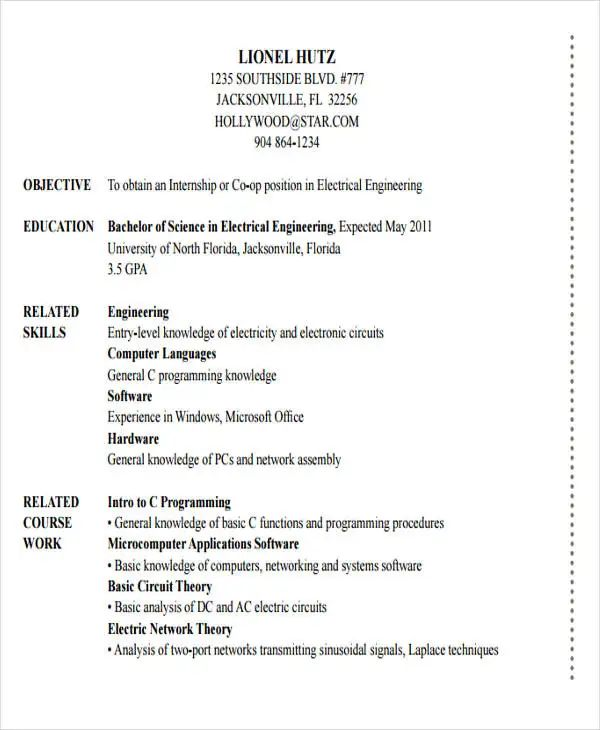 electrical engineering internship resume template