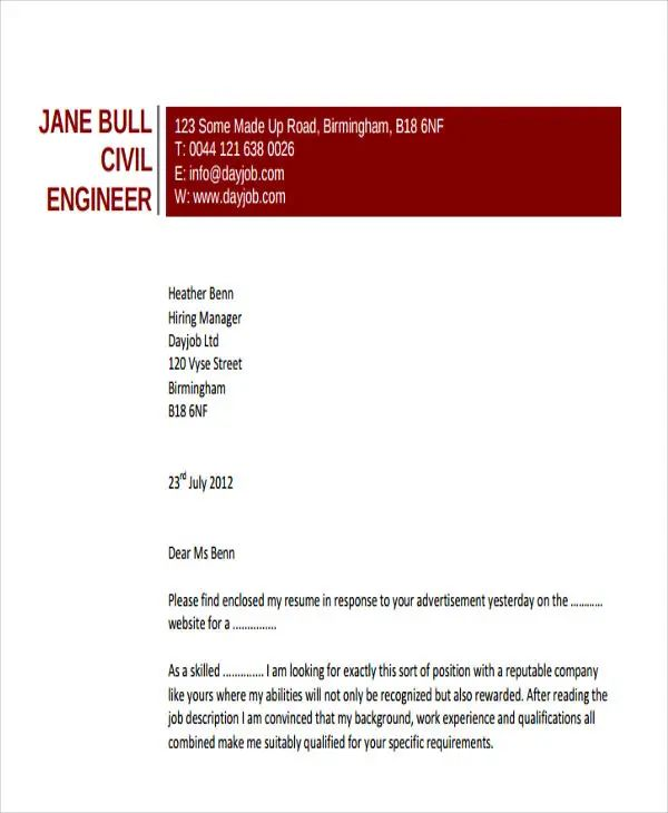 engineering resume cover letters example