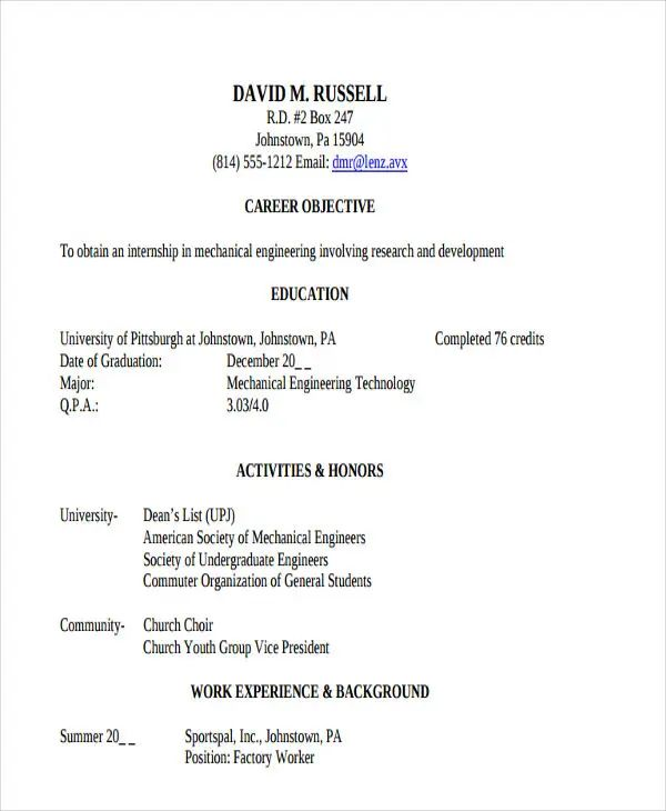 example of engineering internship resume