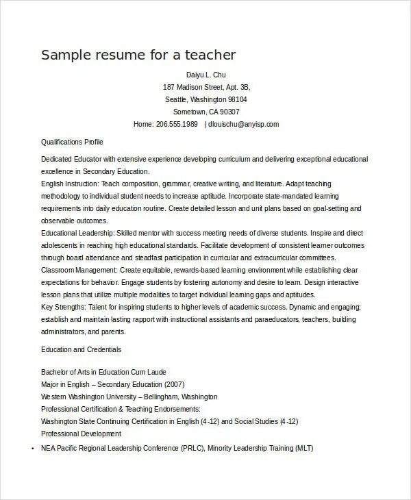 Teacher Resume Sample  32 Free Word PDF Documents Download  Free  Premium Templates