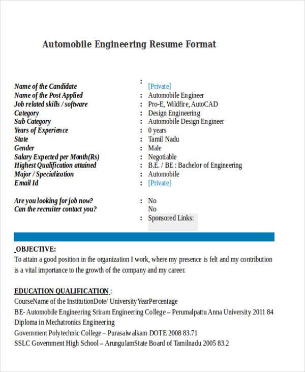 47 Engineering Resume Samples PDF DOC Free & Premium