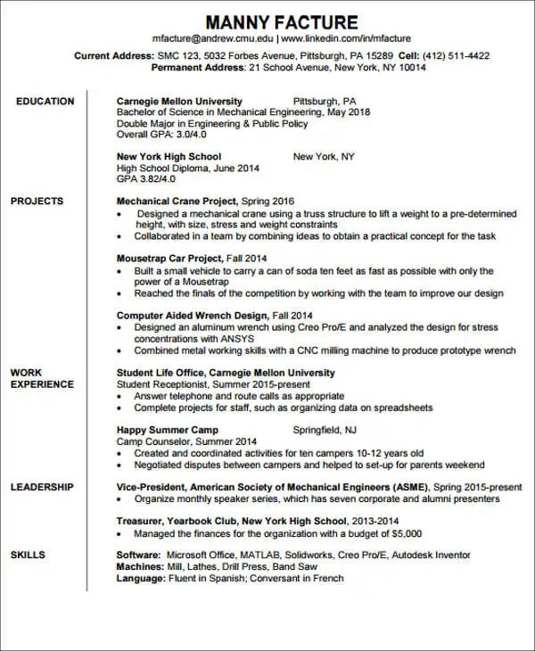 20 Engineering Resume Templates In PDF Free & Premium