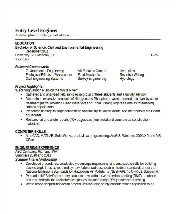 entry level civil engineering resume examples