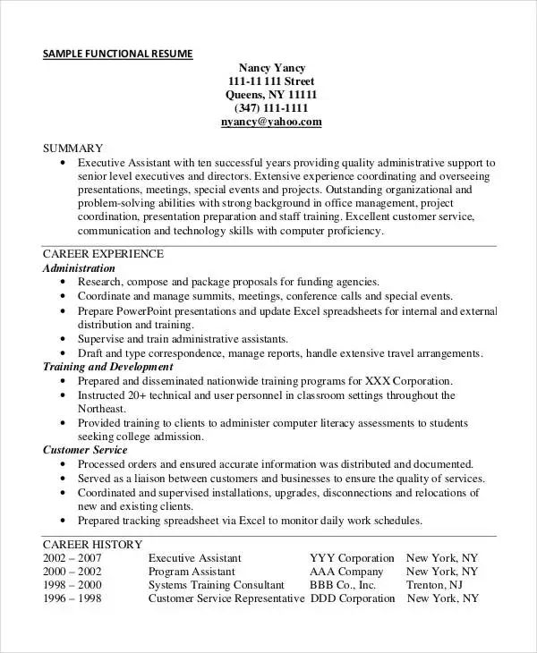 executive assistant functional resume sample