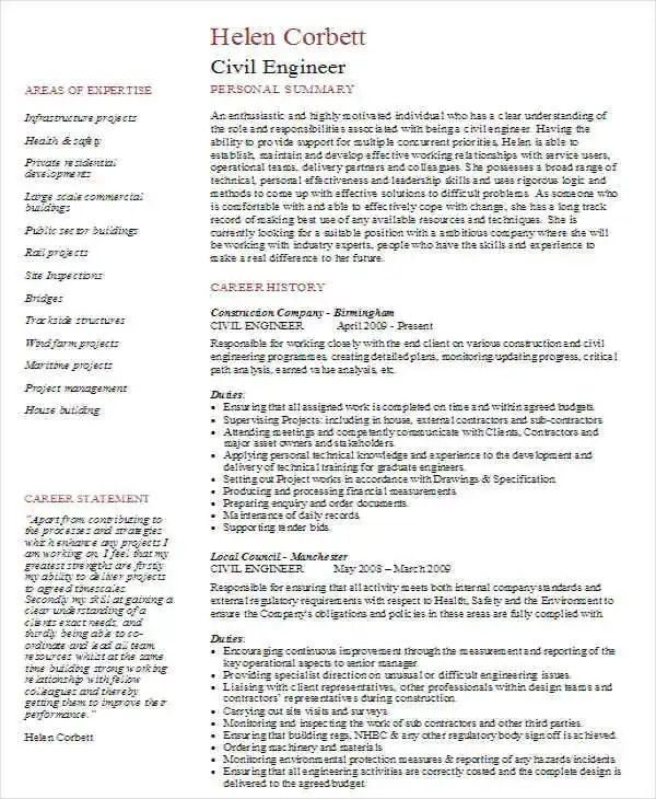 engineering resume pages template