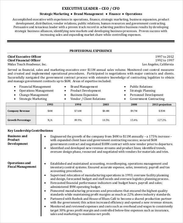 25+ Free Executive Resume Templates - PDF, DOC | Free & Premium ...