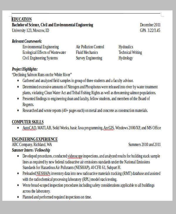 resume sample of civil engineer