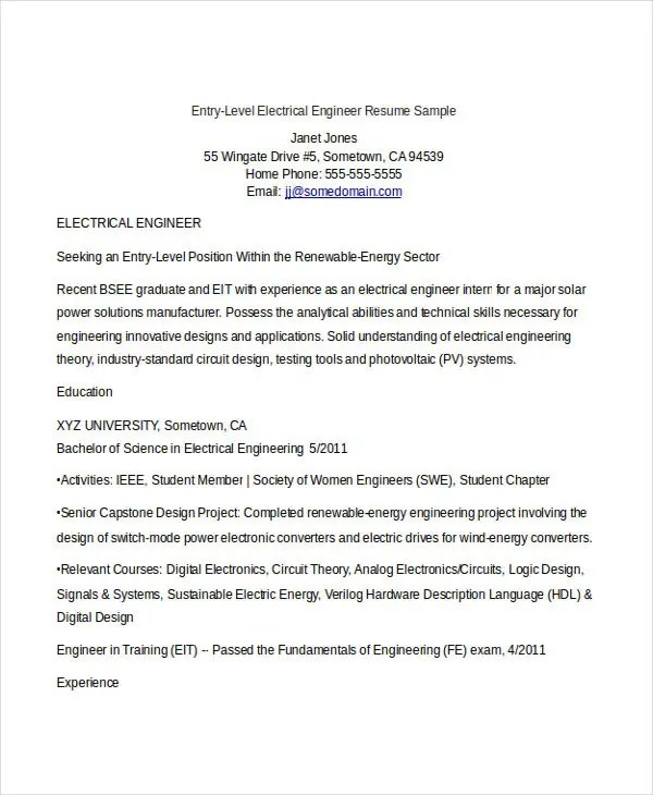 Engineering Resume Template  32+ Free Word Documents