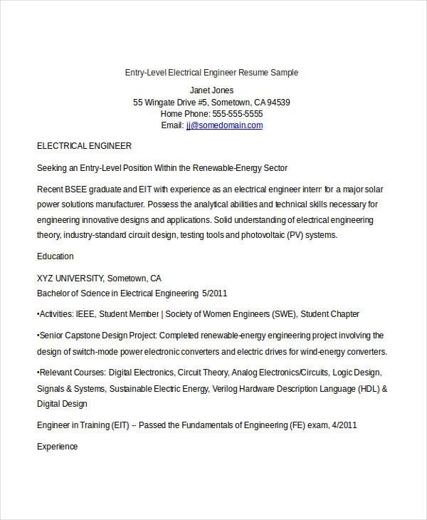 monster engineering sample resume
