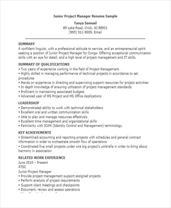 project manager resume sample 2017