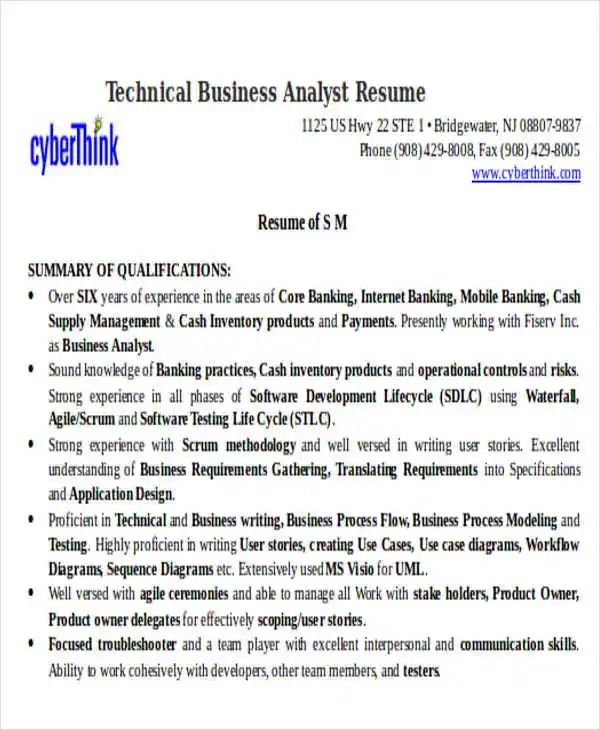 free sample of business analyst resume
