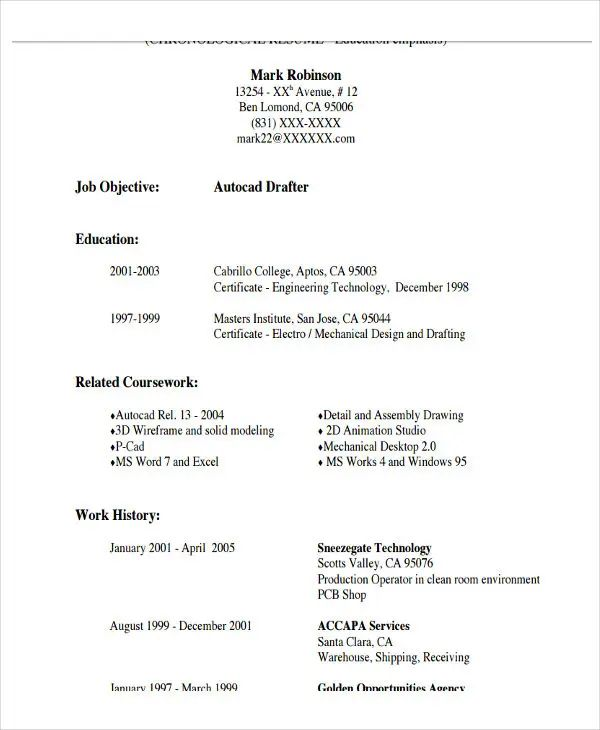 example of resume writing format