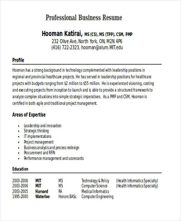 sample of professional resumes