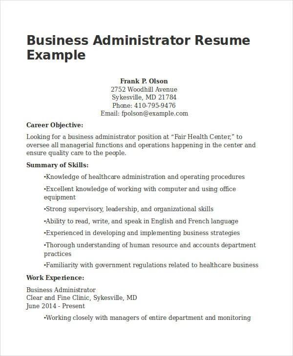 Resume for business administration resume sample 20 business resume templates pdf doc free premium friedricerecipe Images