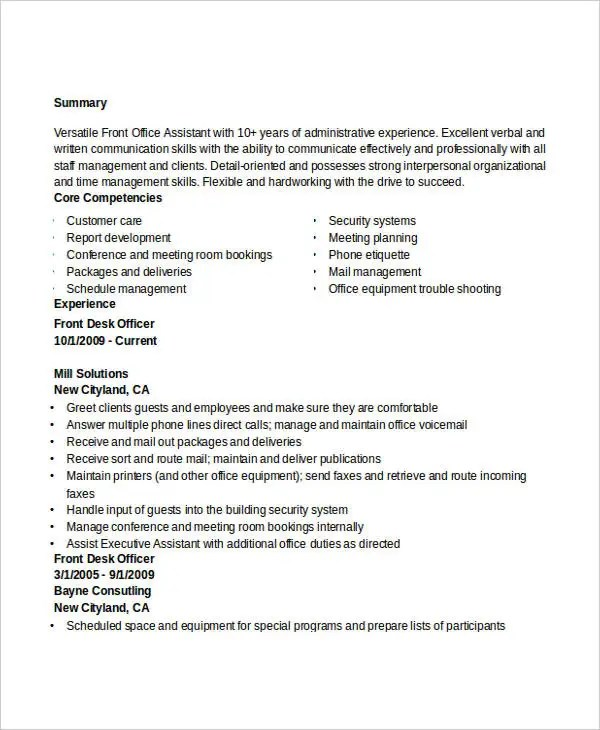 Administration Resume Examples 28 Free Word PDF