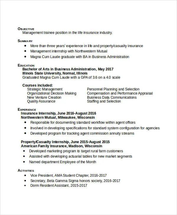 business admin resume examples