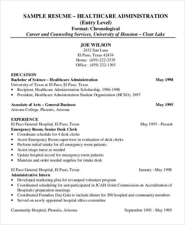 Health Administration Resume Examples  Resume For Healthcare