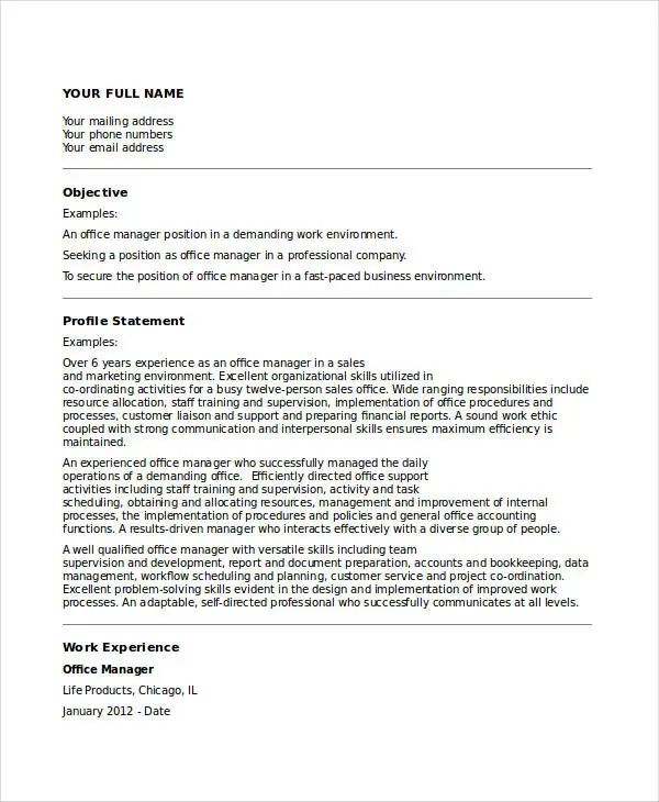 business resume format examples