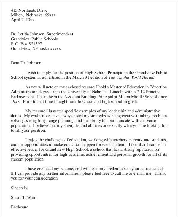 cover letter for school administrator