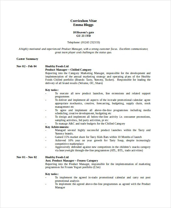 product manager resume example