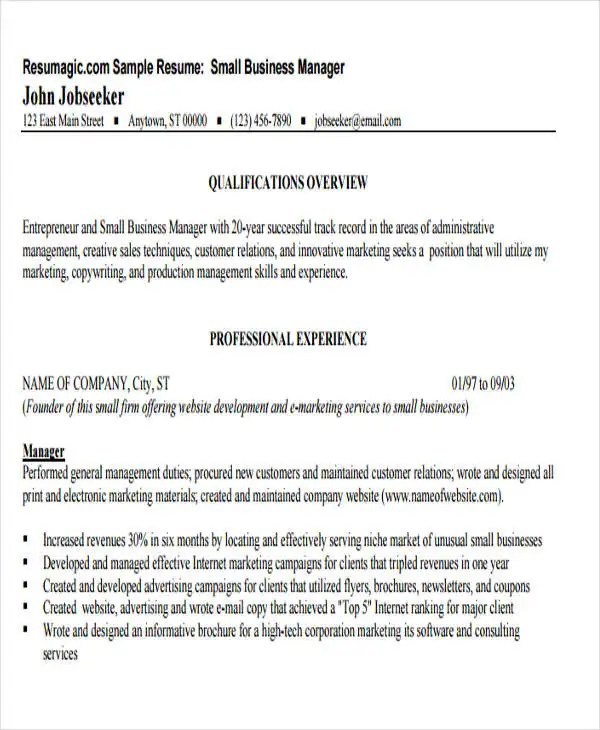 18 Business Resume Templates PDF DOC Free & Premium