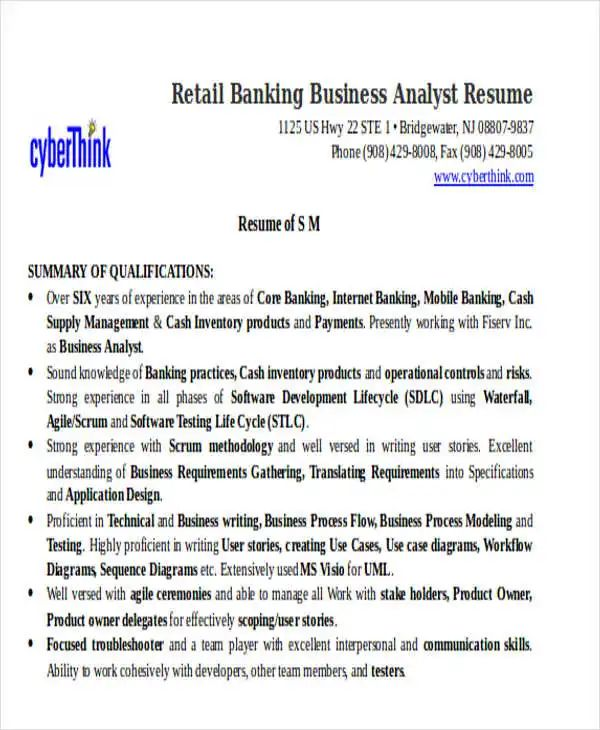 sample resume for banking business analyst