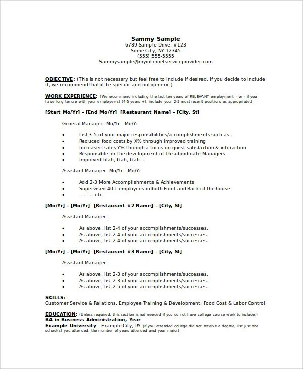 Manager Resume sample Template  48 Free Word PDF Documents Download  Free  Premium Templates
