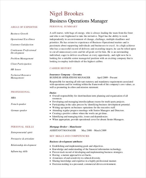 Manager Resume Sample Templates 43 Free Word PDF