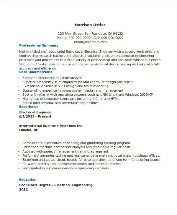 sample entry level resume for electrical engineering