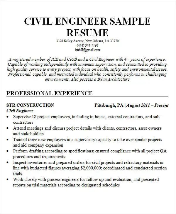 civil engineering resume sample free download