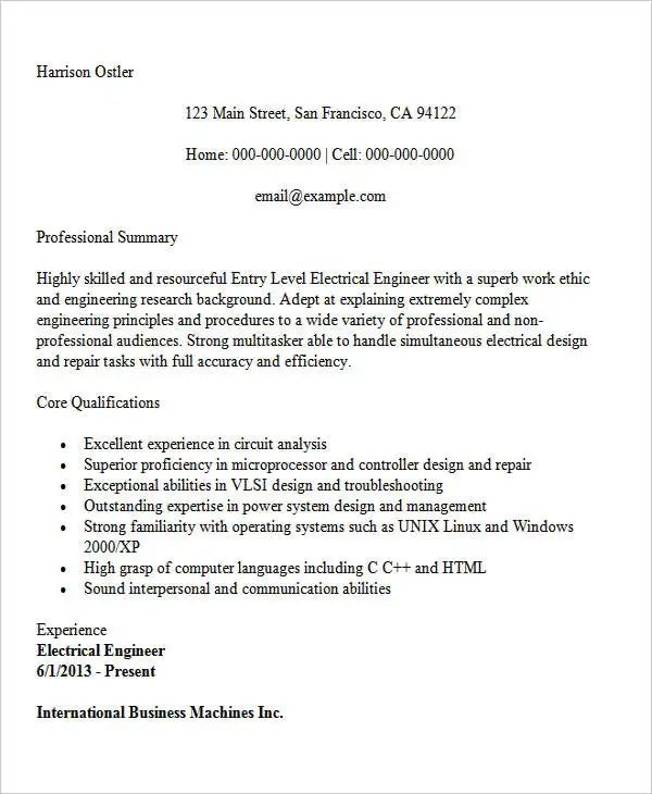chemical engineering resume example