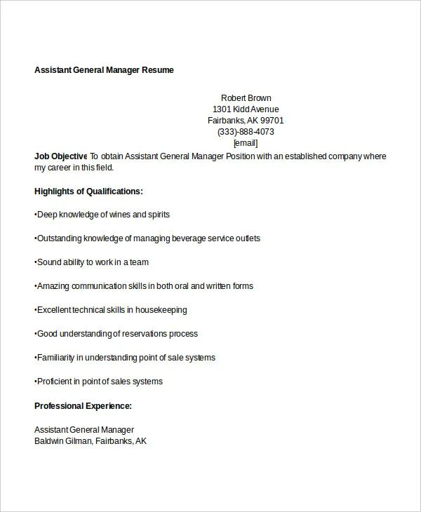 sample resume for assistant manager finance