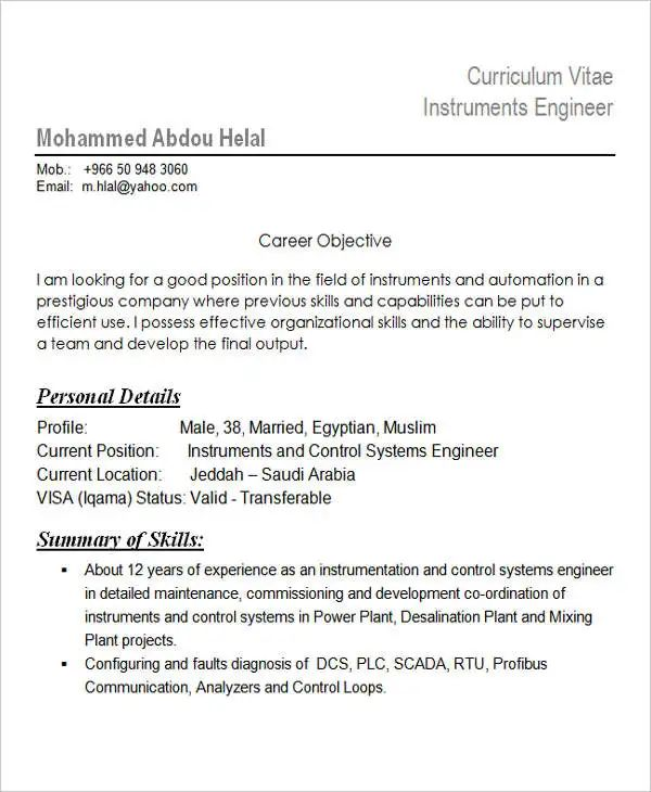instrumentation engineer resume sample pdf
