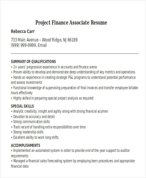 finance assistant resume template