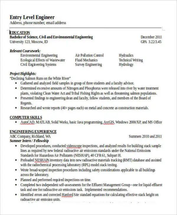 civil engineering example resume