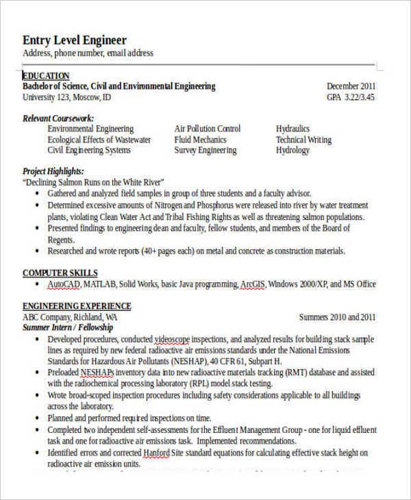 Entry Level Civil Engineer Resume - Resume Sample