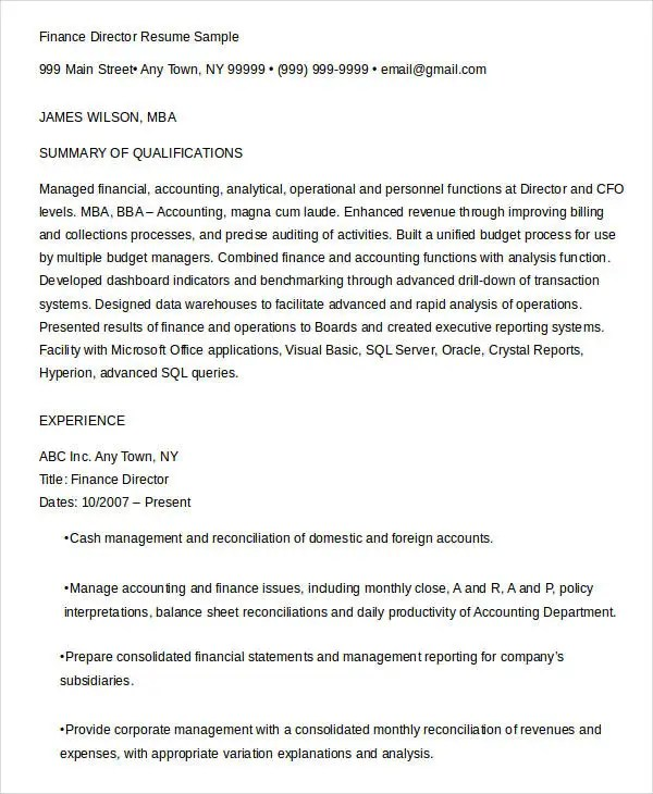 20 Finance Resume Templates PDF DOC Free & Premium