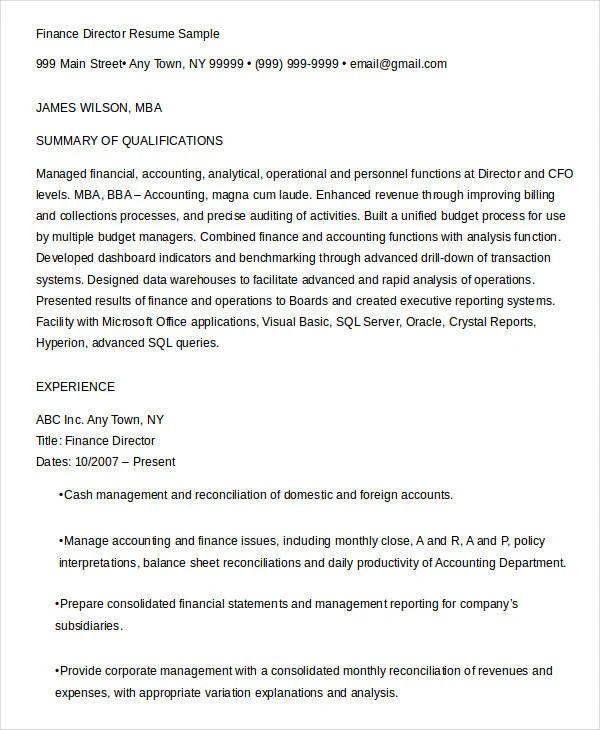 mba resume sample finance