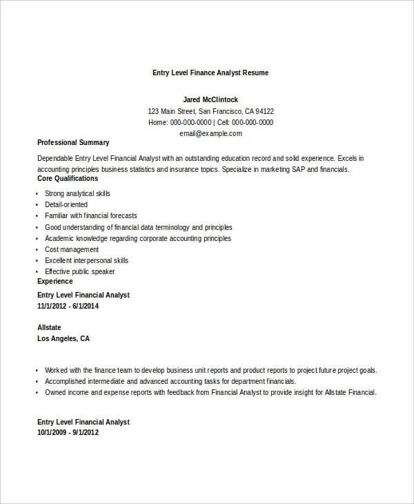 Basic Finance Resume 44 Free Word PDF Documents
