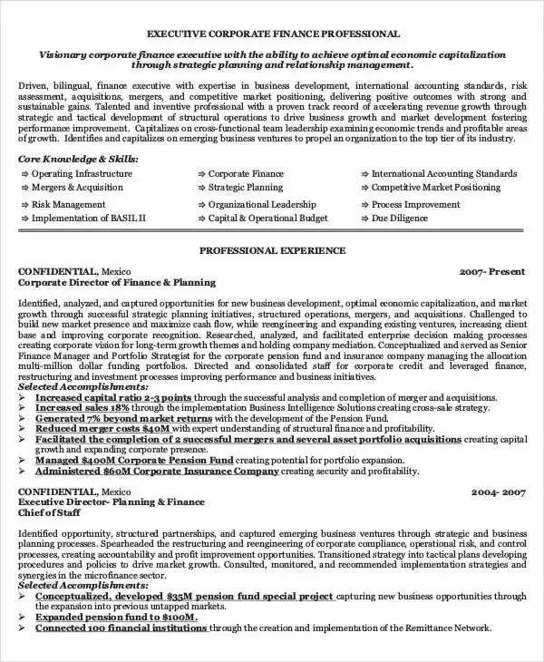 corporate banking resume template