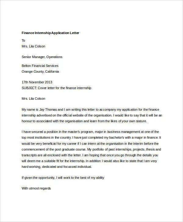 example of a cover letter for an internship