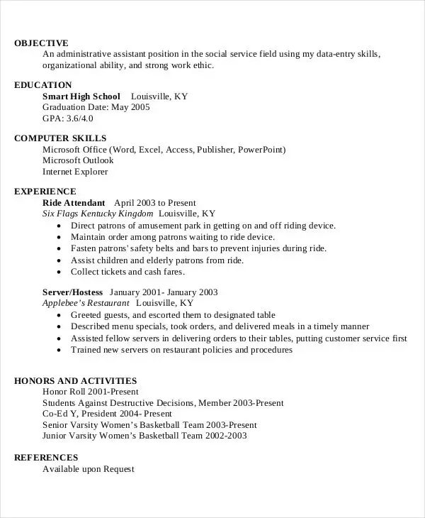 high school resume template free download