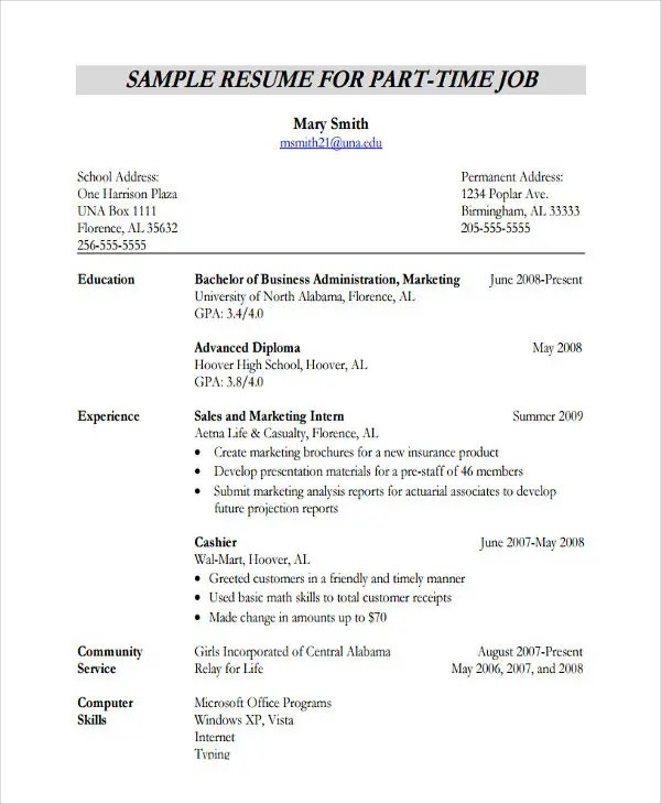 20 Simple Work Resume Templates PDF DOC Free
