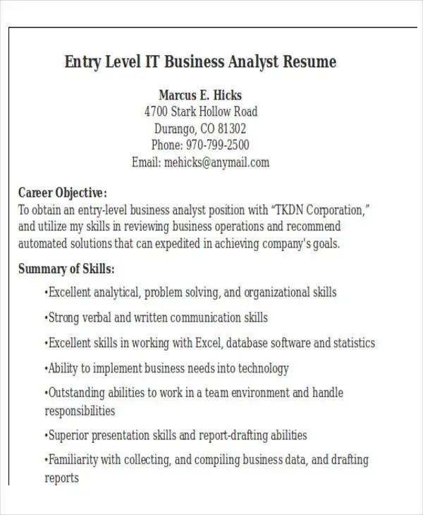 resume example download pdf