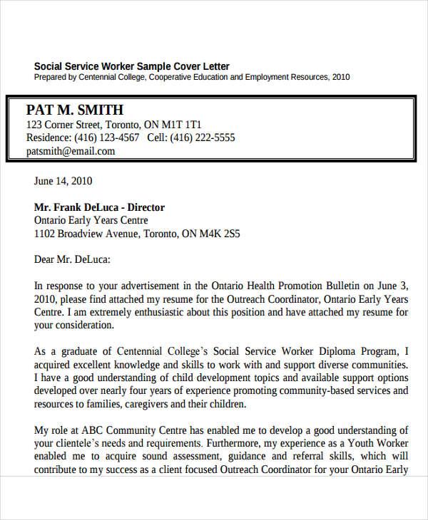 social service cover letter samples