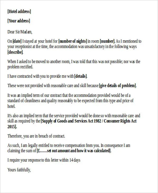 How to address a letter to hotel guest howsto 34 complaint letter templates free premium spiritdancerdesigns Image collections