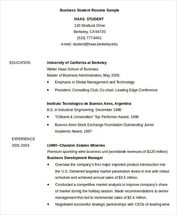 resume samples simple student