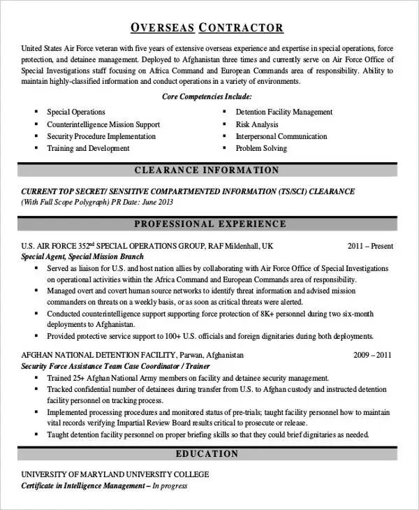 sample resume for contract work